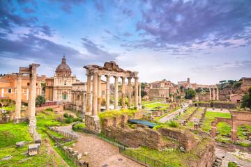 sundown at roman forum in rome, italy