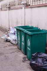 Green bins on the street in Bangkok