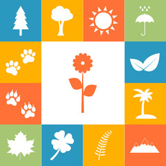 Trees, flowers, trees and animal tracks. Nature icons colorfull set