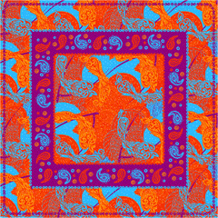 Bandana print with design for silk neck scarf.Vector pattern in the square. beige ornament on blue background