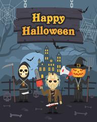 Illustration Halloween Pumpkin Maniac Death