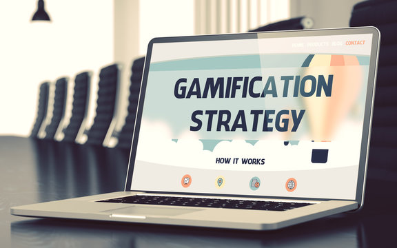 Laptop Screen with Gamification Strategy Concept. 3D.