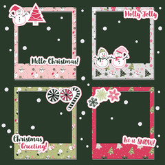 A Merry Christmas photograph frames set for scrapbook design image and gift item for happy Christmas holiday and New Year.