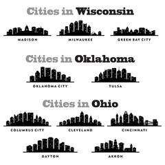 Landscape Skyline Wisconsin, Oklahoma, Ohio City - Silhouette