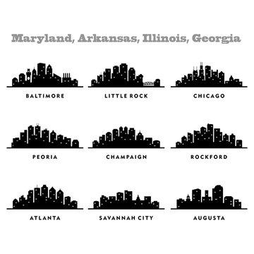 Skyline Arkansas, Illinois, Georgia, Maryland, City - Silhouette