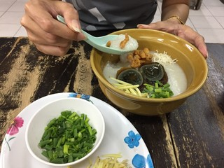 porridge with century egg or preserved duck eggs, traditional chinese.