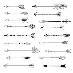 Arrow indian style set. Vector hand drawn hipster illustration
