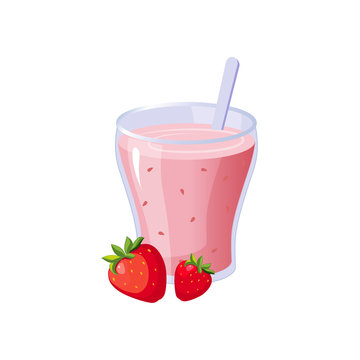 Strawberry Smoothie Breakfast Food Element Isolated Icon