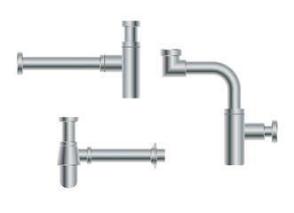 Set of modern European metal nikel siphons esthetic appearance to original design of room, bottle with flask, for wash basin, sanitary devices for connection to sewer pipe for labels of cleaners