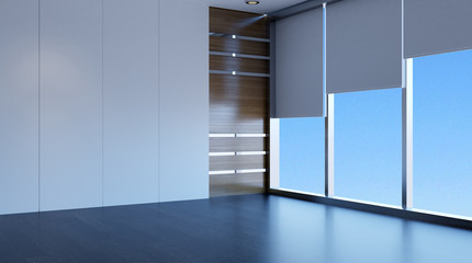 Empty office. The new office space. 3d rendering.