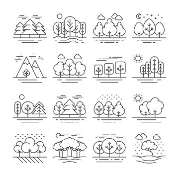 Nature forest landscape thin line icons