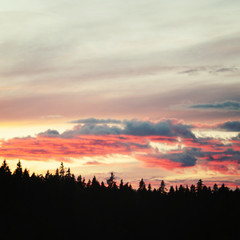 Valaam at sunset. Wild nature of Russian North.