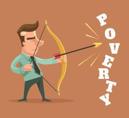 Stop poverty. Man character broke poverty word. Vector flat cartoon illustration