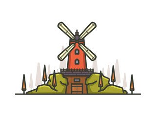 Colorful cartoon windmill. Outline vector illustration.