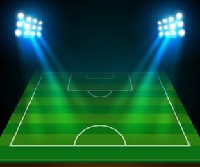 soccer field and spotlight