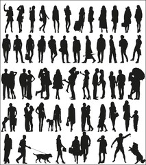 Large set of silhouettes of urban people