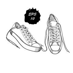 illustration of hand drawn graphic sport shoes for them on whit