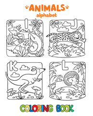 Animals alphabet or ABC. Coloring book
