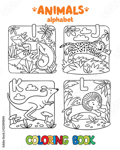 Animals alphabet or ABC. Coloring book\