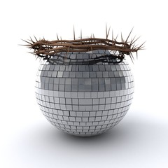 3D illustration of Disco ball wearing a crown of thorns