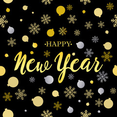 Happy New Year gold glittering lettering design