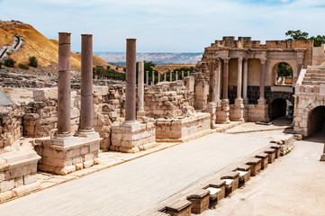 panoramic view of archaeological excavation Bet Shean, israel