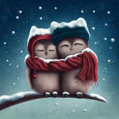 Małe śnieżne sowy