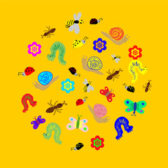 Vector Illustration. Hand Drawn Funny  Doodle Insects arranged in a shape of circle. Colorful and Cute caterpillars, worms, butterflies, bees, ants. Perfect for Child Design.