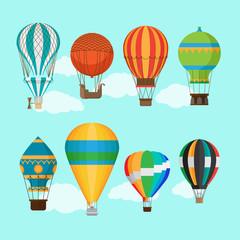 Aerostat balloon transport. Vintage hot air balloons vector illustration