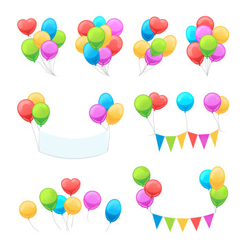 Cartoon balloon set. Vector glossy balloons isolated on white background for party invitations decoration