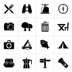 Black Camping, tourism and travel icons - vector icon set