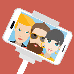 Three friends making summer selfie photo. Vector cartoon illustration.