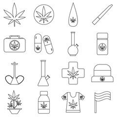 Marijuana icons set. Outline illustration of 16 marijuana vector icons for web