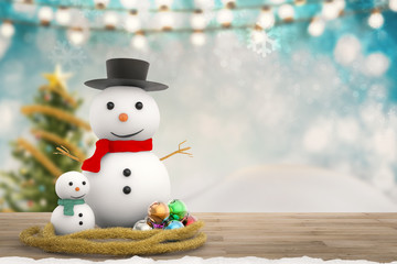 smiling snowman for christmas decoration