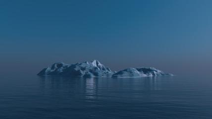 3D render of iceberg in the ocean.