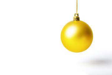 Yellow christmas ball. Christmas background. Christmas background yellow. Ball christmas background. Christmas background holiday. Gold christmas background. Christmas background isolated.