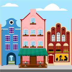 Colorful houses. Europe city street. Vector illustration.