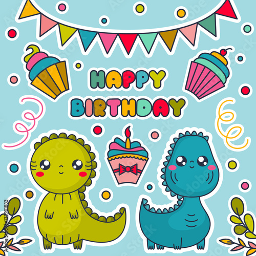 Happy Birthday Card With Kawaii Dinosaurs Cakes Bunting Flags And Confetti Cartoon Characters Vector Illustration