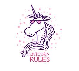 Vector illustration of head of magic unicorn in glasses with pin