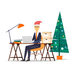 Business man sitting at the table. Christmas tree. Xmas party. Flat design vector illustration.