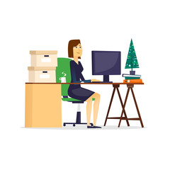 Business woman sitting at the table. Flat design vector illustration.