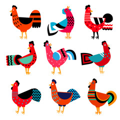 Vector set of roosters, symbol of 2017 on the Chinese calendar. Silhouette of red cock, decorated with floral patterns. Vector element for New Year's design. Image of 2017 year of Red Rooster.