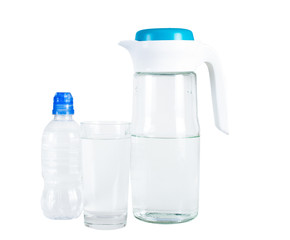 Jug of water and blue cap. The glass of water. A bottle with a blue cap sports. On white, isolated background.