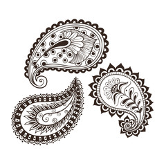 hand-drawing set paisley