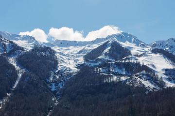 white snow mountain and blue sky