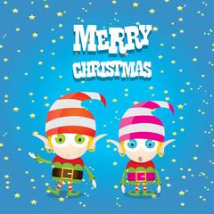 vector cartoon cute happy Christmas elf