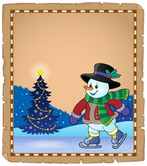 Parchment with skating snowman 1
