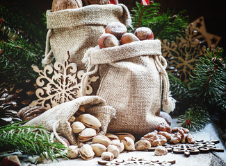 Walnuts, hazelnuts and pistachios in a canvas bag in Christmas d