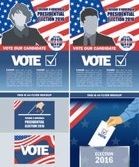 Usa 2016 election a4 flyer mockup with country map, vote checkbox, male and female candidate. Digital vector image