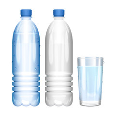 Water in bottle. Glass of pure water. Empty bottle. Vector